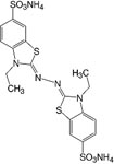 Structure 2,2'-Azinobis(3-ethylbenzthiazoline-6-sulfonic acid)&#183;2NH<sub>4</sub>-salt_cryst. analytical grade